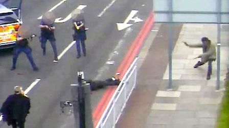 CCTV shown in court of Adebolajo and Adebowale being subdued by police. Picture: Metropolitan Police