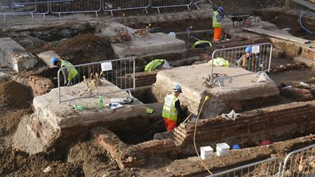Archaeologists excavating at Stratford Broadway