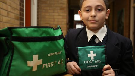 James Duffy, the UKs youngest person ever to be trained in using a defibrillator, collected a Jack