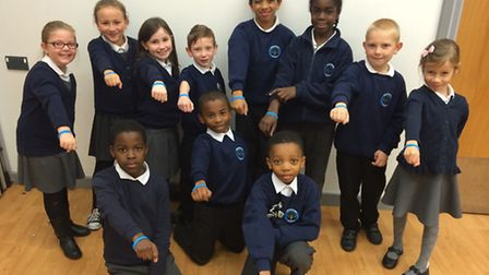Broadford Primary School Students with their Beat Bullying wristbands