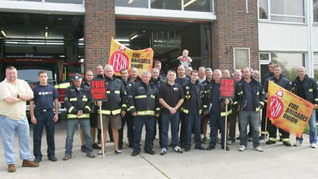 Firefighters on strike at Hornchurch fire station earlier this year