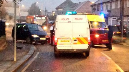 The crash was near the junction of Chadwell Heath Lane and Roxy Avenue on December 12. Photo: @nater