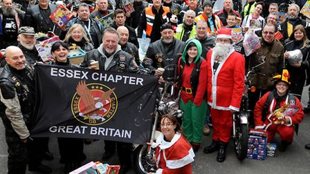 Riders who have ridden from Loughton to Canning Town to deliver donations of toys.