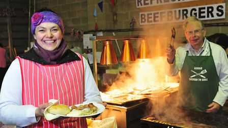 LOCAL TREAT: A free cooked breakfast was provided for customers at the Beccles famers market. The ma