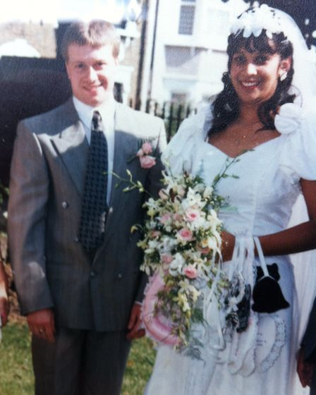 Christopher Ritchie, with his wife Sharon, on their wedding day