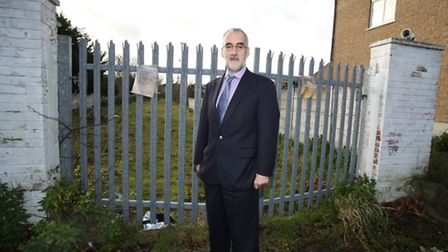Cllr Ian Bond at the closed site of the old Woodford Town Football Club