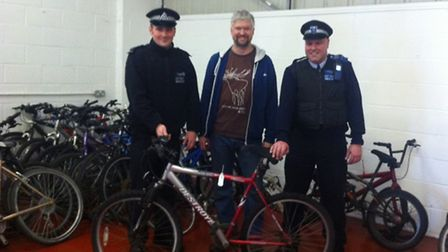 From left: PC Danny Greenland, workshop supervisor Keith Young and PCSO Paul Green