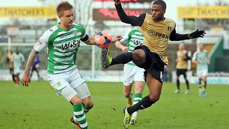 Yohann Lasimant (right) in action for Leyton Orient against Yeovil. Simon O'Connor