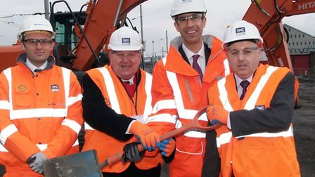 Chris Sims, VolkerFitzpatrick project director, Mike Gapes MP, Matthew White, Cllr Keith Prince, Chr
