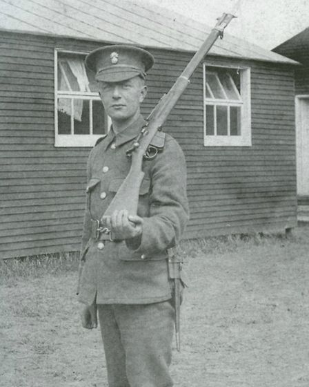 A soldier at an Ilford camp before being sent to Europe. Picture: Taken from A Century of Ilford by