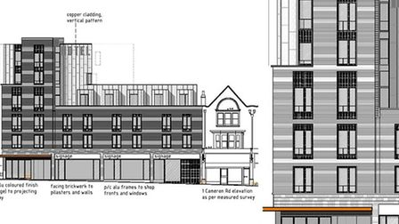 Designs for a new hotel planned for The Joker site. Plans: Agenda 21 architects