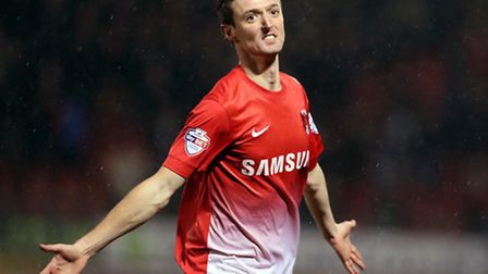 David Mooney celebrates his goal against Coventry on his return to the Orient side. Simon O'Connor