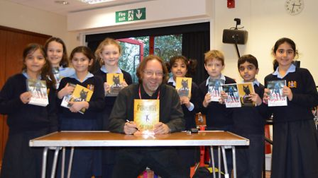 SF Said with the children at Bancroft's Preparatory School.