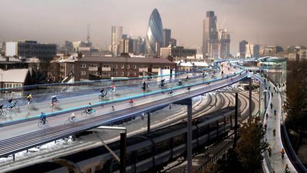 An artist's impression of the SkyCycle network. Picture: Foster and Partners.