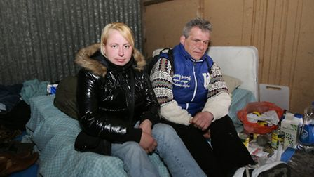 Irute Sproge and Anton Stefamovic, living in a small oubuilding in Ilford