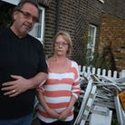 Michael Tussler and Sandra Tussler outside their home.