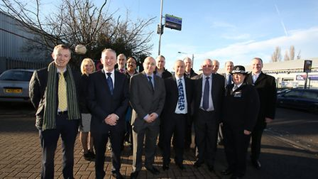 Members of Hainault BID, Redbridge Council and police at the launch of the CCTV.