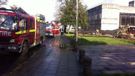 Fire crews attended the crime scene. Picture: Amanda Nunn
