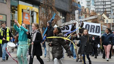 Children parade through the streets of Ilford to celebrate Easter last year