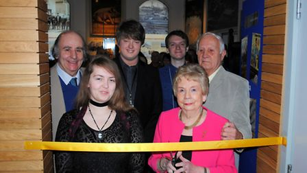 Exhibition team with Patricia Pound cutting the ribbon [Picture: Havering Museum]