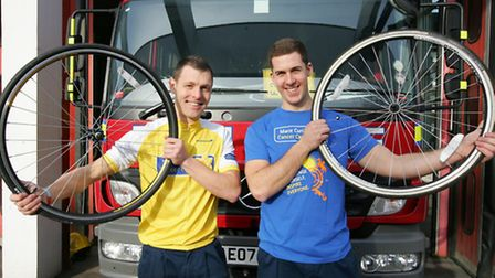 Firefighters Simon Potticary, and his colleague Michael Hewison are cycling to Paris to raise money