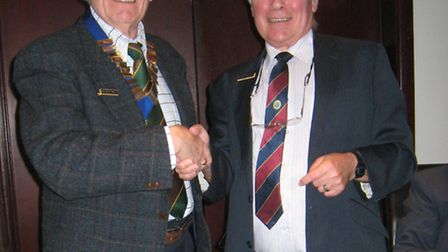 The new president of the Probus Club of Ilford, Richard Small (left) and previous president Alan Far