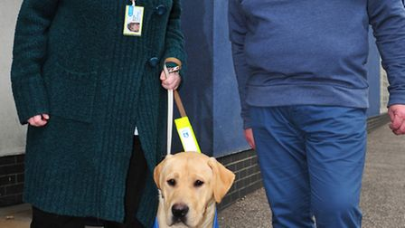 William the guide dog visits Lowestoft Bingo club.Simon Waters an Michele Green with William.