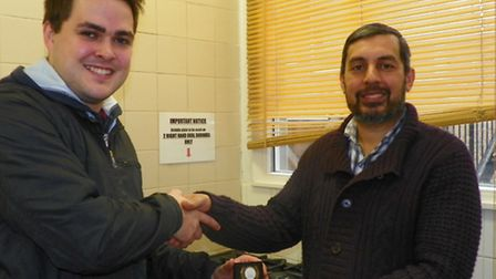 L-R John Clifton and Mohammed Asif in front of the new Salvation Army cooker