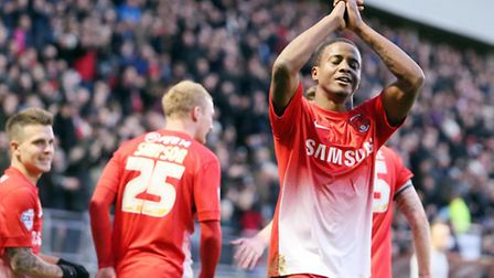 Kevin Lisbie celebrates ending his goal drought against Carlisle. Pic by Simon O'Connor