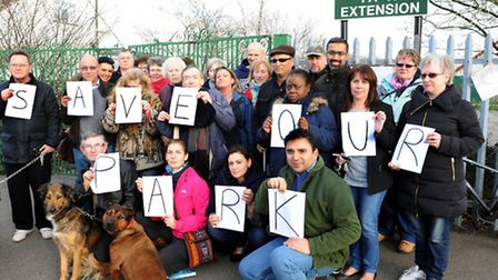 Councillor Ali Hai (front row, far right) and residents protest against the leasing of Goodmayes Par