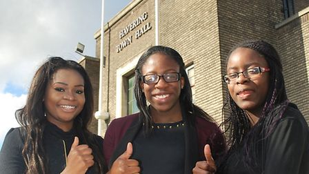 (Left to right) Frankie, Destiny and Tolu outside the Town Hall after the results of the election we
