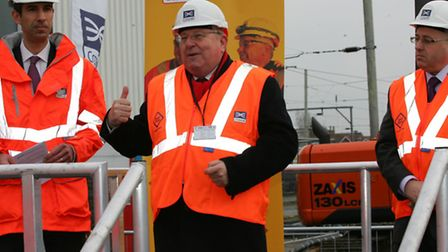 Crossrail boss Matt White, MP Mike Gapes and council leader Keith Prince at the Crossrail depot