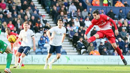 Orient defender Mathieu Baudry gives his side the lead - but he later conceded a penalty. Pic by Sim