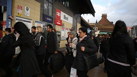 Commuters at Ilford station during the tube strike in February.