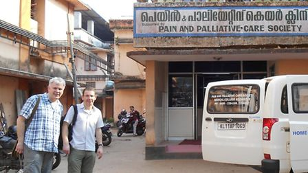 Peter Ellis from Richard House Children's Hospice pictured in Kerala with Richard Carling from Toget
