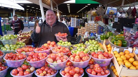 Neil Stockwell, 50, a fruit and veg trader in Queen's Market, say the leaky roof is affecting his bu