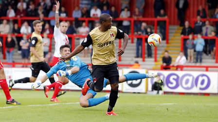 Kevin Lisbie scores the winner against Stevenage in August. Pic by Simon O'Connor