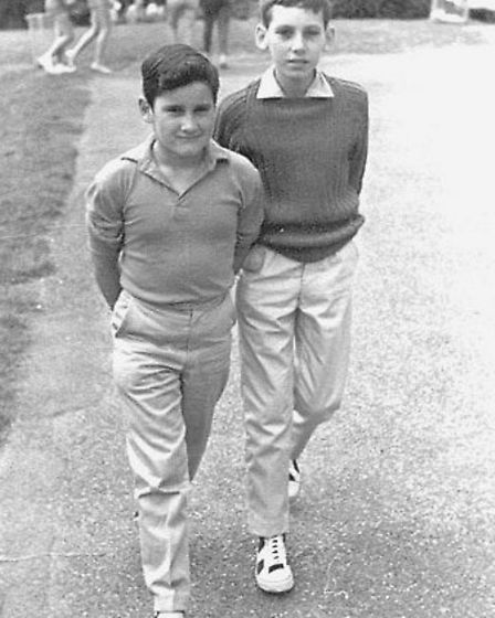 Peter Sharp, on the right, is pictured with fellow Hammers fan Ian Hammond Picture: Pontins