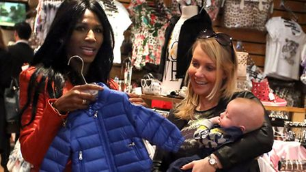 Sinitta and Laura Hamilton with her son Rocco visited Childsplay clothing in Ilford to buy Simon Cow