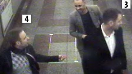 Three of the men British Transport Police wish to speak to in connection with an assault on a 21-yea