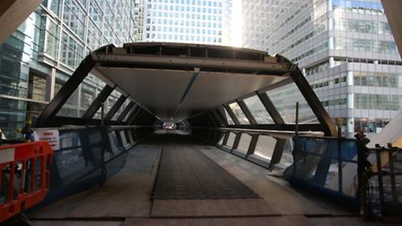 Canary Wharf Station in the process of being built.