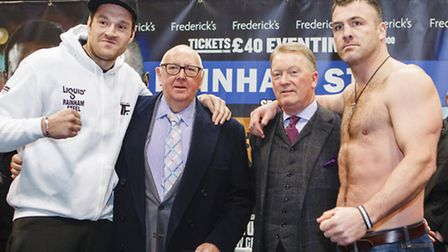 From left: Tyson Fury, Bill Ives, Frank Warren and Joey Abell. Picutre: Rahil Ahmad