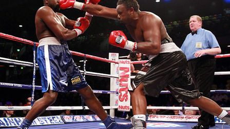 Dereck Chisora (right) and Kevin Johnson in a title bout at the Copper Box Arena. Picture: Sean Demp