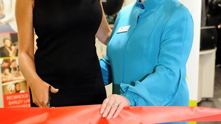 Amy Childs (left) and college Chief Executive, Theresa Drowley OBE, cut the ribbon at the opening of