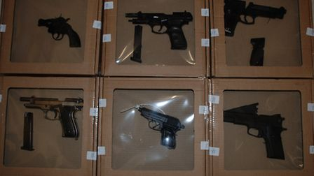 Six of the guns seized in the one of the largest hauls of firearms recovered in a 24-hour period in
