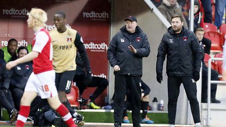 Russell Slade with his assistant Kevin Nugent. Simon O'Connor