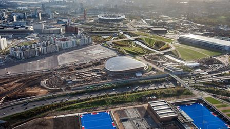 Aerial shot over the Queen Elizabeth Olympic Park. Picture by Anthony Charlton for LLDC.