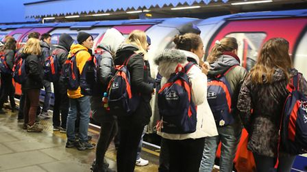 Commuters at South Woodford underground station