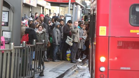 Passengers piled on to buses outside Ilford station