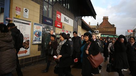 A rush to get into Ilford station